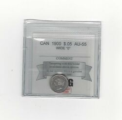 1900 Round Wide 00 - Coin Mart Graded Canadian, 5 Cent, Au-55