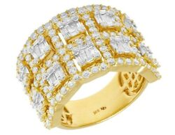 Ladies Yellow Gold Real Diamond Baguette Two Row Halo Ring Band 15mm 3ct