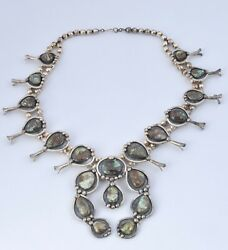 Heavy Vintage Native American Sterling Silver Turquoise Squash Blossom Necklace