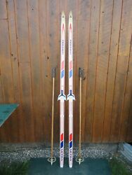 Ready To Use Cross Country 79 Long Fischer 205 Cm Skis + Poles