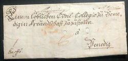 1779 Vienna Austrian Empire Stampless Vintage Letter Cover To Italy