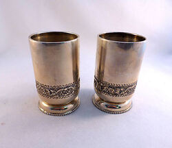 Pair Of India / Indian Sterling Silver Decorated 4 Cups