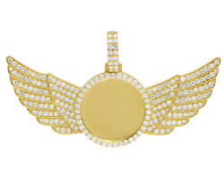 10k Yellow Gold 3 1/2 Ct Real Diamond Photo Engrave Angel Wing Memory Pendant...