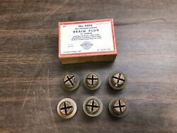1929-38 Ford Car And Truck Gmc Reo 3/4 Oversize Oil Drain Plugs Box Of 6 Nos 1019