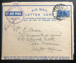1941 South Africa Mef Army In Egypt Censored Air Letter Cover To Capetown