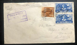 1941 South Africa Army Post Office 36 Censored Oas Airmail Cover To Transvaal