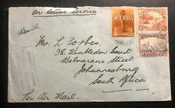 1942 South Africa Army Post Office Censored Oas Airmail Cover To Johannesburg