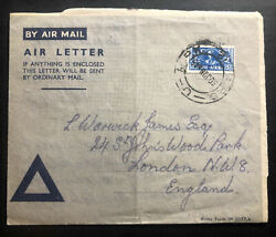 1945 Pretoria Army Po South Africa Censored Air Letter Cover To London England