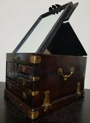 Antique 1800s Chinese Rosewood Makeup Jewelry Box W/ Mirror - Auth. Certificate