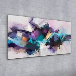 Wall Picture Glass Print Art Decor Painting Abstract Pink Blue Purple 100x50