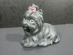 Vintage Yorkie Puppy Figurine - Black with Pink Bow - Shy dog needs adopted!