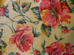 Antique Vintage 40#x27;s Poppy Floral Fabric #2 Pink Tangerine Yellow Pillows Totes