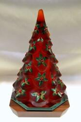 Fenton Tree Ruby Red Satin Ruby Berries And Leaves Curren Ooak Free Ship