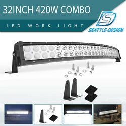 32inch 180w Curved Led Light Bar Spot Flood Combo Offroad Driving Atv Truck 34