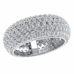 3.90ct Domed 5-row Pave Bridal Wedding Eternity Band Ring Round Diamond 18k Gold