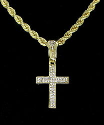 Iced Cross Pendant Hip Hop Fashion 14k Gold Plated w 24quot; Rope 4mm Chain $11.99