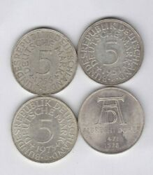 Four Silver German Federal Republic Five Marks Dated 1951 To 1973 Near Mint.