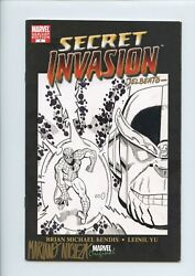 Secret Invasion 1 Sketch Cover Signed And Remarked By Super-star