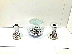 Vintage Hand Painted Lefton China Bowl 823 And 2 Candle Holders 835 Mint