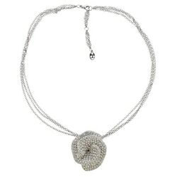Stefan Hafner 8ctw Diamond Flower Pendant Brooch Necklace