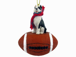 Pit Bull Terrier Dog Brindle Football Sports Figurine Ornament