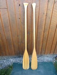 Interesting Old Set 2 Odd Different Oars 59 + 60 Long Boat Wooden Paddles