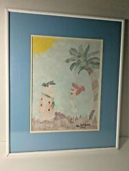 Fred And Wilma Flinstone Pointillism Painting 1994 11-1/2 X 8 1/2 Signed Frame