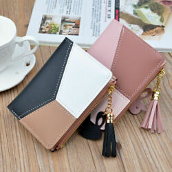 Cute Women Splicing Block Small Wallet Coin Case Leather Simple Bifold Purse Bag $8.99