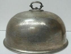 WALKER AND HALL SILVER PLATED CLOCHE DOME FOOD COVER ENGRAVED DECORATION