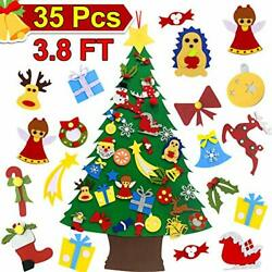 3.8ft Felt Christmas Tree for Kids DIY Christmas Tree with 34 Pcs Ornaments