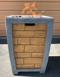 Brick Column Gas Fire Pit Outdoor Propane With Lava Rocks And Protective Cover