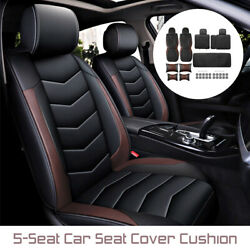 Deluxe Pu Leather Car Seat Cover Protectors 5 Seat Full Cushions +free
