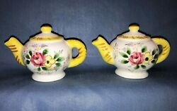 Vintage Yellow Floral Teapot Salt And Pepper Shakers Py Japan