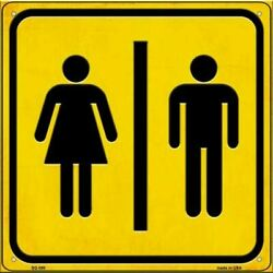 Men And Ladies Room Novelty Metal Square Sign