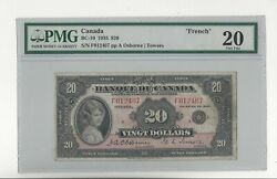 1935 Bank Of Canada Bc-10 20 Osb/tow Sn F012407 Pmg Vf-20 French