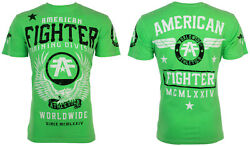 American Fighter Mens SS T-Shirt FLY BY Eagle BRIGHT NEON GREEN Biker S-3XL $40 $21.99