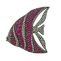 Cantamessa Ruby Diamond Gold Fish Brooch Pendant