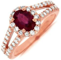 1.55ct Diamond And Aaa Ruby 14kt Rose Gold 3d Oval And Round Halo Engagement Ring