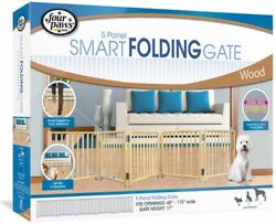 Four Paws Free Standing Gate For Small Pets 5 Panel For Openings 48-110 Wide
