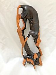 Carved 15 Wood Artistic Panther Wild Cat Pair Figurine