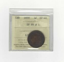 1859 Dpn9 1 ,iccs Graded Canadian, Large One Cent, Ef-40