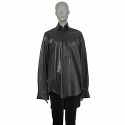 56593 Auth Vetements Black Leather Oversized Blouse Shirt Top S