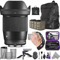Sigma 16mm F/1.4 Dc Dn Contemporary Lens For Canon Ef-m With Altura Photo Bundle