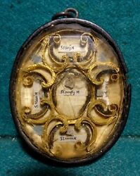 Antique 18th Horn Frame Multi Reliquary W/ 10 Saints Martyrs Relics 72mm - Rare