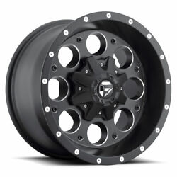 4 16x8 Fuel Black And Mill Revolver Wheel 5x114.3 5x127 For Ford Jeep Toyota Gm