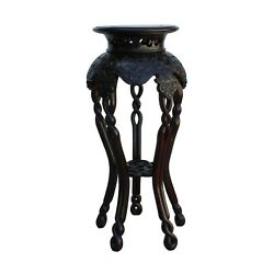 Chinese Huali Rosewood Two Brown Round Curved Legs Plant Stand Cs5249