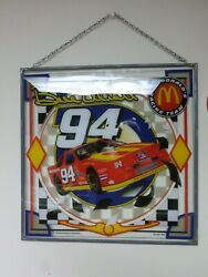 Bill Elliott , Mcdonalds Picture On Glass, Wall Hanger. 16 X 16 Inches, 1995