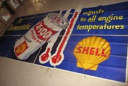 1950's Shell X-100 Motor Oil 9 Foot X 20 Foot Billboard Poster Sign - Awesome