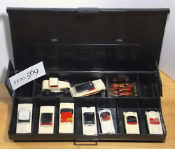 WOWSER! All White 9pc 1961 Auora Vibrator Slot Car Collection Lot 569 All Nice !