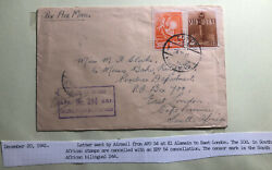 1941 Egypt British Army Field Post Airmail Cover To East London South Africa